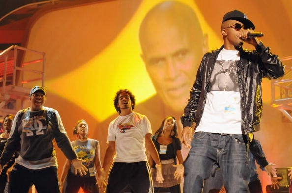 Nas performs during the 2008 BET Hip-Hop Awards Rehearsals Day 2 at The Boisfeuillet Jones Atlanta Civic Center on October 17, 2008 in Atlanta, Georgia.