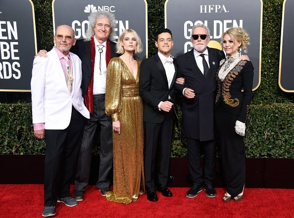 BEVERLY HILLS, CA - JANUARY 06:  Brian May (2nd L), Lucy Boynton (3rd L), Rami Malek (3rd R), and Roger Taylor attend the 76th Annual Golden Globe Awards at The Beverly Hilton Hotel on January 6, 2019 in Beverly Hills, California.  (Photo by Frazer Harrison/Getty Images)