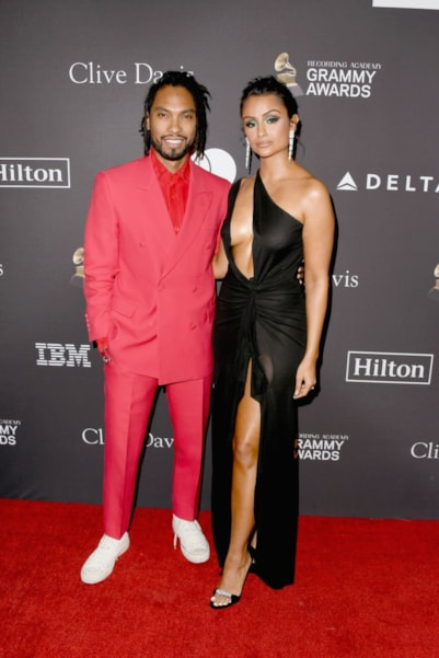 BEVERLY HILLS, CA - FEBRUARY 09:  Miguel and Nazanin Mandi attend The Recording Academy And Clive Davis' 2019 Pre-GRAMMY Gala at The Beverly Hilton Hotel on February 9, 2019 in Beverly Hills, California.  (Photo by Jon Kopaloff/Getty Images)